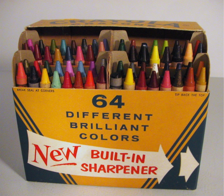 Box 64 Crayola crayons for 1958